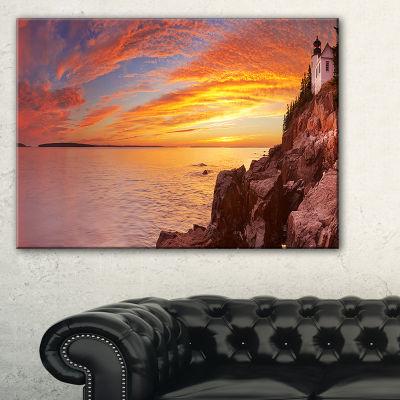Designart Bass Harbor Head Lighthouse Panorama Canvas Art