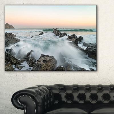 Designart Bay Of Beaky Vibrant White Waves Canvas Art