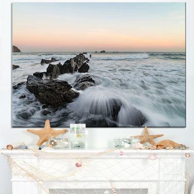 Designart Bay Of Biscay White Waves Hitting Beach Canvas Art