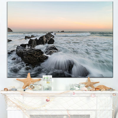 Designart Bay Of Biscay White Waves Hitting Beach Canvas Art
