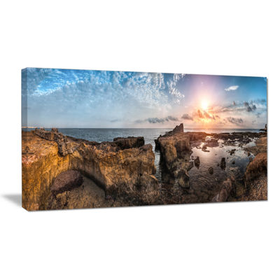 Designart Beach With Ancient Ruins Panorama Canvas Art