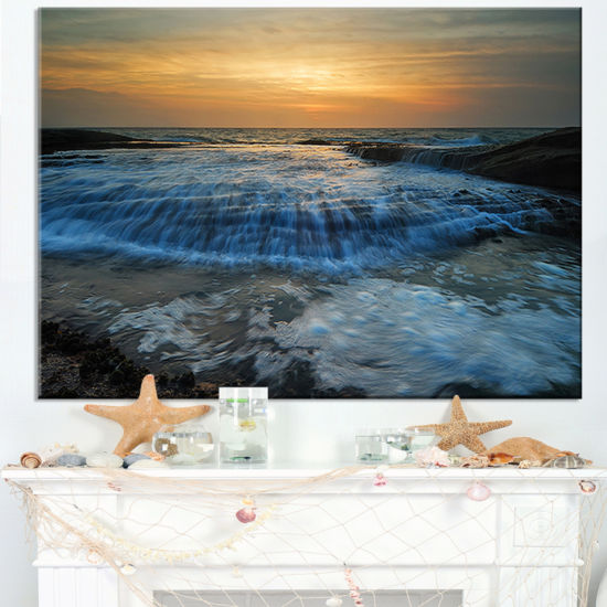 Designart Beach With Rushing White Waves Canvas Art