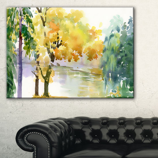 Designart Beautiful Autumn Forest Watercolor Canvas Art