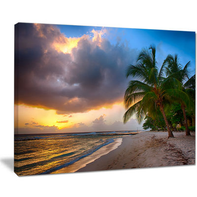 Designart Beautiful Beach With Palms In Barbados Canvas Art