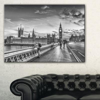 Designart Beautiful Black And White London View Canvas Art