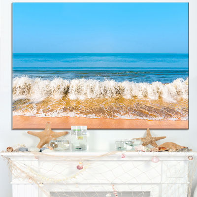 Designart Beautiful Blue Sea And Roaring Waves Canvas Art
