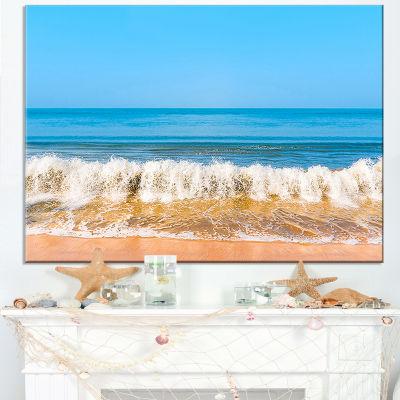 Designart Beautiful Blue Sea And Roaring Waves Canvas Art