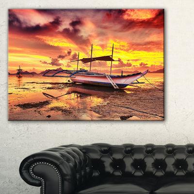 Designart Beautiful Boat Under Yellow Sky Canvas Art