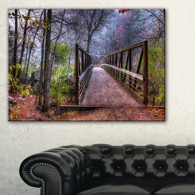Designart Beautiful Bridge Over Creek Canvas Art