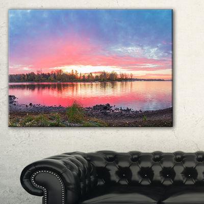 Designart Beautiful Fall Sunrise Over River Canvas Art