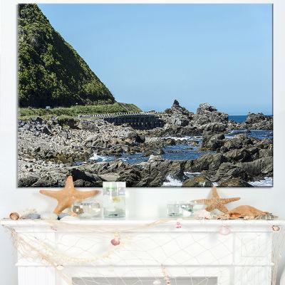 Designart Beautiful New Zealand Rocky Beach Canvas Art