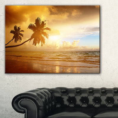 Designart Beautiful Palms At The Caribbean Beach Canvas Art