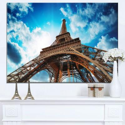 Designart Beautiful Paris Paris Eiffel Towerunder Blue Sky Canvas Art