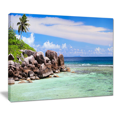 Designart Beautiful Seychelles Rocky Coast Canvas Art