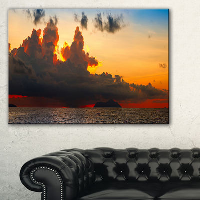 Designart Beautiful Sunset Over The Clouds Canvas Art