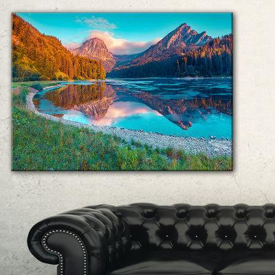 Designart Beautiful Swiss Lake Obersee Canvas Art