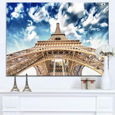 Designart Beautiful View Of Paris Paris Eiffel Towerunder Clouds Canvas Art