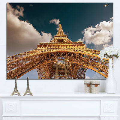 Designart Beautiful View Of Paris Paris Eiffel Towerunder Dark Sky Canvas Art