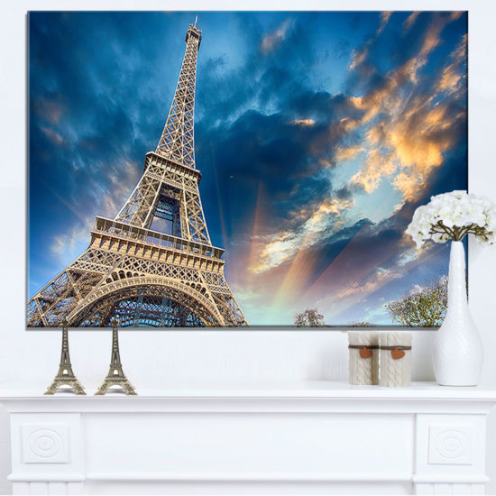 Designart Beautiful View Of Paris Paris Eiffel Towerunder Fiery Sky Canvas Art
