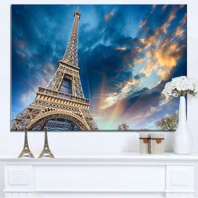 Designart Beautiful View Of Paris Paris Eiffel Towerunder Fiery Sky Canvas Art