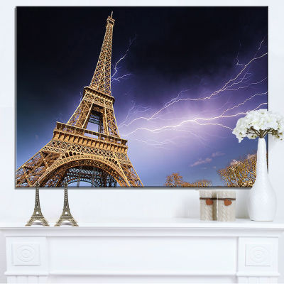 Designart Beautiful View Of Paris Paris Eiffel Towerunder Purple Sky Canvas Art