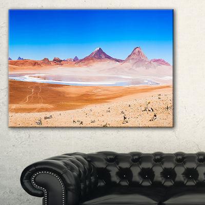 Designart Beauty Lake And Volcano On Altiplano Canvas Art