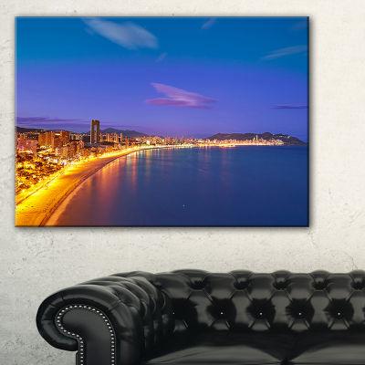 Designart Benidorm Poniente Beach Sunset Canvas Art