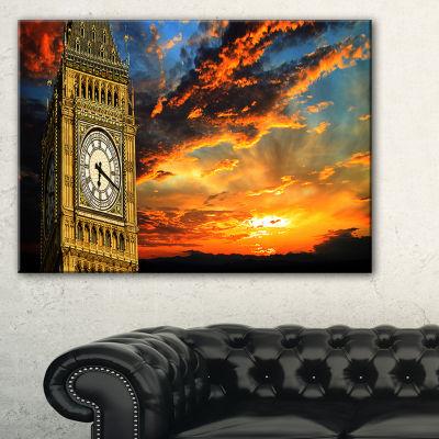 Designart Big Ben Uk London At Sunset Panorama Canvas Art