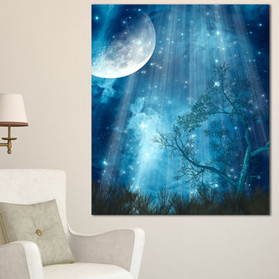 Designart Big Moon In Blue Forest Canvas Art