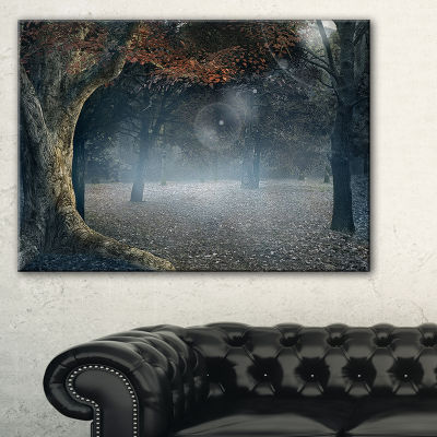 Designart Big Trees In Dark Foggy Forest Canvas Art