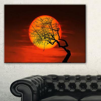 Designart Birds And Tree Silhouette At Sunset Canvas Art