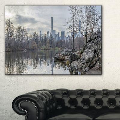 Designart Black And White Central Park Nyc Canvas Art