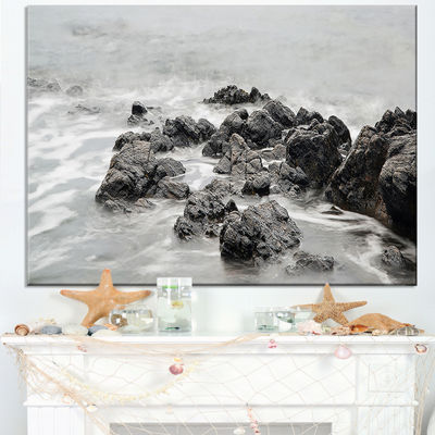 Designart Black And White Rocky Coastline Canvas Art