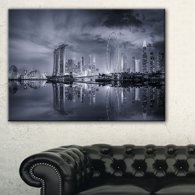 Designart Black And White Singapore Skyline Canvas Art