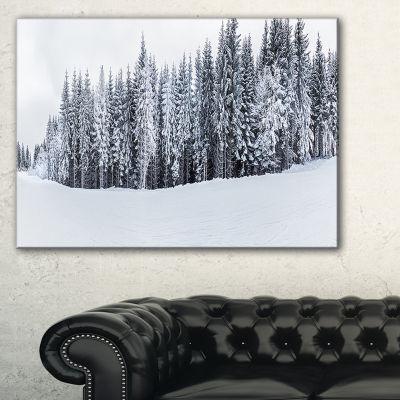 Designart Black And White Snow Capped Hills Canvas Art