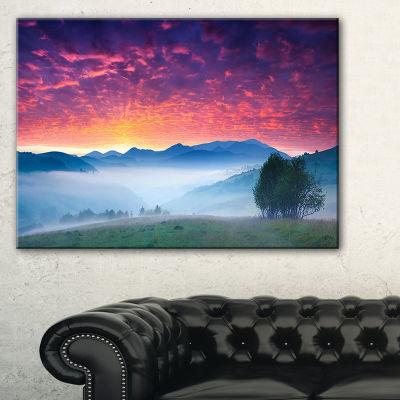 Designart Blood Red Sky And Green Grass Canvas Art