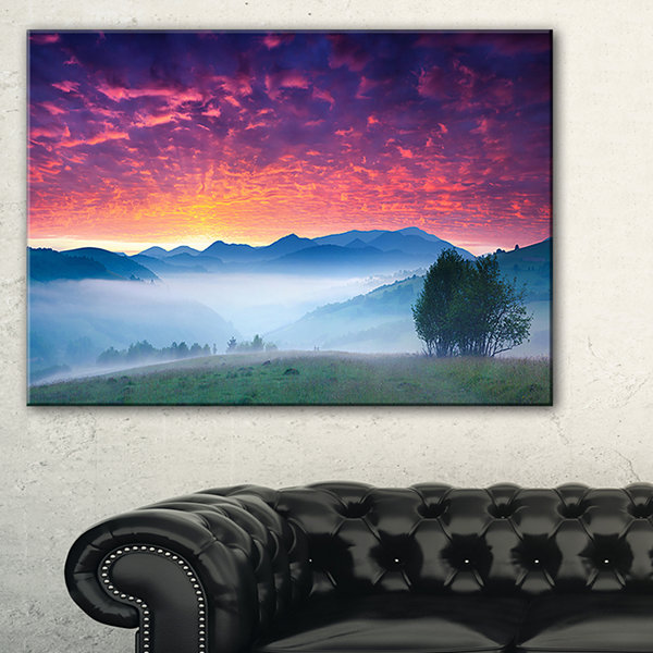 Designart Blood Red Sky And Green Grass 3-pc. Canvas Art