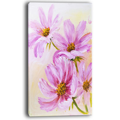 Designart Blooming Pink Cosmos Flowers Canvas Art