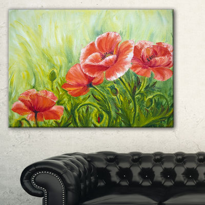Designart Blooming Poppies With Green Leaves Canvas Art