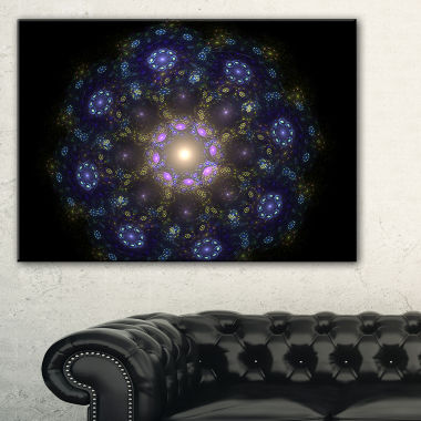 Designart Blue Abstract Fractal Mandala Flower Canvas Art
