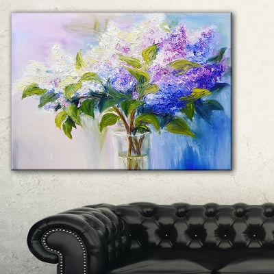 Designart Blue And White Lilacs In Vase Canvas Art