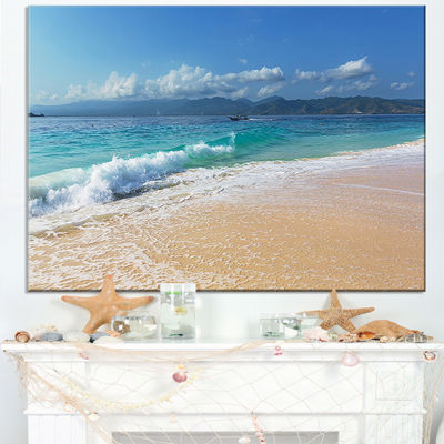 Designart Large Blue Beach In Gili Island Canvas Art