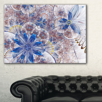 Designart Blue Brown Grungy Floral Shapes Canvas Art