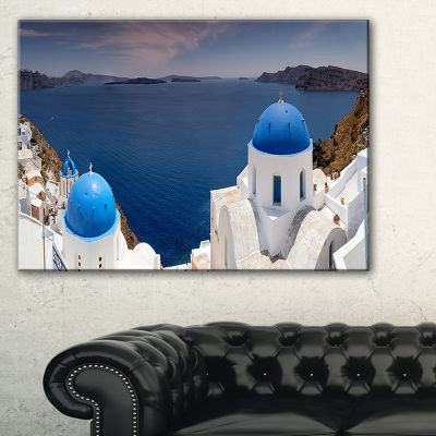 Designart Blue Doomes Churches Panorama Canvas Art
