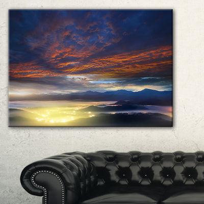 Designart Blue Fiery Overcast At Sunrise 3-pc. Canvas Art
