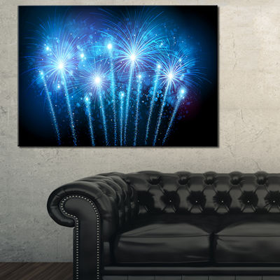 Designart Blue Fireworks At Night Sky Canvas Art