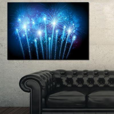 Designart Blue Fireworks At Night Sky 3-pc. Canvas Art