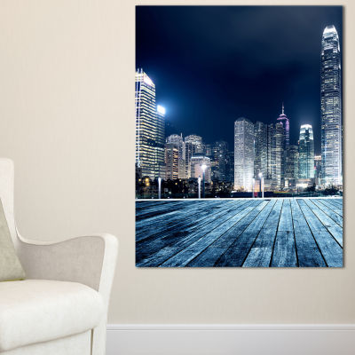 Designart Blue Hong Kong City Skyline Canvas Art