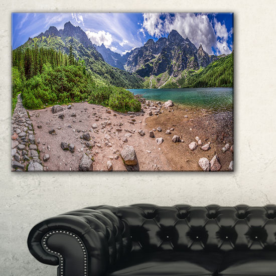Designart Blue Lake Amid Mountains Panorama Canvas Art