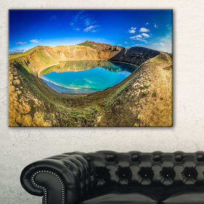 Designart Blue Lake In The Crater Of Volcano Canvas Art